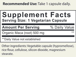 Maca Ingredients Label
